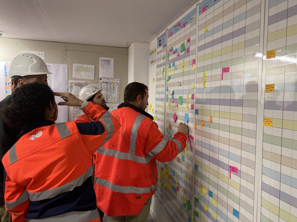 Photo d'une réunion de pilotage LPS sur chantier